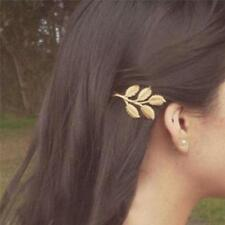 Leaf Shaped Hair Clip Slide Jewellery Accessories Boho Gold For Women Girl LC