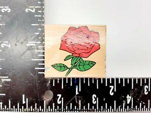 Rose Flower Wood Rubber Stamp