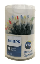 Philips 18ct Christmas Battery Operated LED Micro String Lights Multicolored NEW