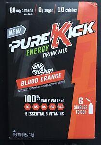 6 Boxes Pure Kick Energy Blood Orange Vitamin Drink Mix Singles ToGo