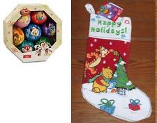 DISNEY DECOUPAGE CHRISTMAS ORNAMENT SET +  MUSICAL POOH TIGGER  STOCKING LOT