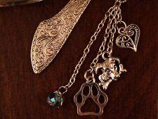 Ornate Silver Finish Bookmark Dog Lovers Dog & Bone, Pawprint, Heart & Swaroski