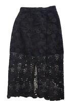Topshop Size 8 Womenswear Floral Crochet Black High Waist Midi Pencil Skirt