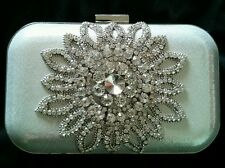 Silver Box Clutch Crystal Handbag Evening Bag Deb Bride Debutante Bridesmaids