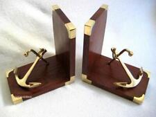 Maritime Buchstützen aus Holz/Messing mit Stockanker