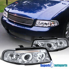 For 96-99 Audi A4 Halo Led Projector Headlights Head Lamps Chrome SpecD Tuning