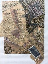 Très beau collage dessin abstrait Signature à identifier Journaux Billet Anglais