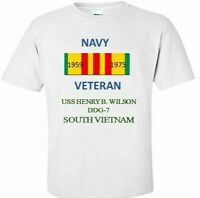 USS HENRY B.WILSON DDG-7 *SOUTH VIETNAM*VIETNAM VETERAN RIBBON 1959-1975 SHIRT