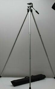 Velbon ME-2 Camera Tripod + Carrying Case, Pan Handle Tilt Head. Made in Japan.
