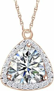 Simulated Birthstone Triagle Cut Halo Pendant Necklace In 14K Rose Gold Over