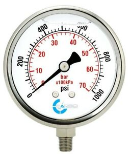 "4"" Pressure Gauge, Stainless Steel Case, Liquid Filled, Lower Mnt 1000 PSI"