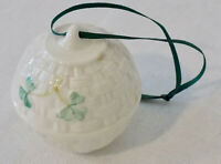 Belleek Round Christmas Ornament Irish Porcelain Green Shamrocks Basketweave