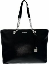 Michael Kors MERCER Pebbled Leather Medium Tote Shoulder Bag Black Nwt $298