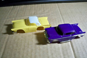 Tyco Purple 1957 Chevy and Yellow  Ford T-Bird  slot car Bodies Unused NOS