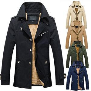 Mens Winter Warm Jacket Trench Coat Woolen Furry Lined Casual Outwear Overcoat