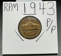 1943 P P/P Jefferson Silver War Nickel Variety Coin RPM Circulated Condition