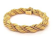 """Tiffany & Co 18k Yellow Gold Rope Bracelet 8"""" T& Co 18k Twisted Rope 11mm 42.9g"""