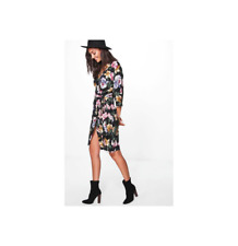 Boohoo Women's Tall Lydia Woven Floral Wrap Front Dress Size US 6 Tall NWT