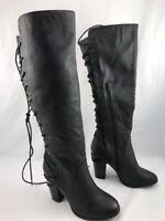 KRISHNA  US 8 HIGH HEEL BOOTS WITH WIDE LEG KNEE BLACK