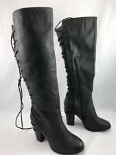 KRISHNA  US 8 HIGH HEEL BOOTS WITH WIDE LEG KNEE BLACK