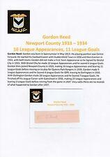 GORDON Reed Newport County 1933-1934 RARA Originale Firmato a Mano Taglio/Card