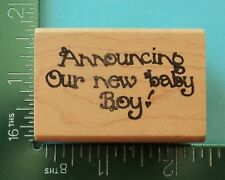 Announcing Our New Baby Boy Saying Rubber Stamp by Silver Fox Stamps
