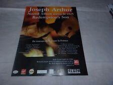 JOSEPH ARTHUR - Publicité de magazine / Advert REDEMPTION'S SON !!!