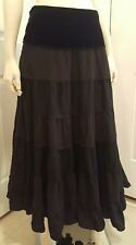 MINT COND. Black Velvet Long Skirt Richard Malcolm Gothic Punk Ruffle Size 10