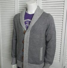 NEW Mens SIZE XXXL 3XL ALPACA Gray Shawl Collar Cardigan Sweater Wood Buttons