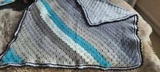 Hand Crochet Teal Grey Knitted Small Blanket 35x40""