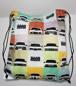 SAAB ICONS design drawstring bag.