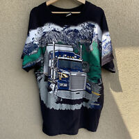 Vintage All Over Print 1997 Freight Liner Semi Truck shirt size XL rare HTF vtg