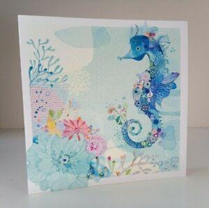 Greeting Card - Seahorse - (Blank Inside) - Birthday, Notecard Etc