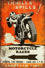 Goodyear Motorcycle Races Advert Vintage Retro style Metal Sign, shed, garage,