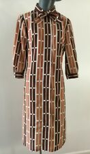 60s Nelly Don Shift Secretary Dress Bust 37 Geometric Print Zip Front Vtg Bow