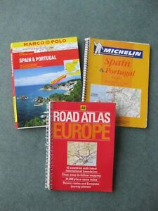 Set of 3 Europe, Portugal & Spain road atlas maps
