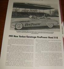 ★★1951 NEW YORKER/SARATOGA FIREPOWER HEMI SPEC INFO PHOTO★★