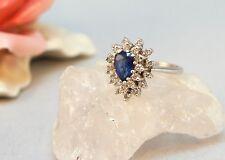 Art Deko Ring  WG 585 1Carat Lupenreinen Brillianten Saphir