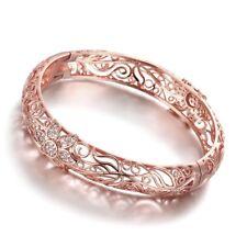18k 18ct Elegant Rose Gold Filled Solid Filigree Flora Bangles Woman BN-A282