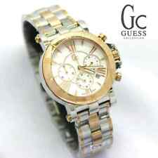 NEW GC GUESS COLLECTION 2 TONE ROSE GOLD,SILVER+MOP,CHRONOGRAPH WATCH RETAIL$730