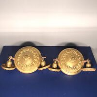 Pair of matching antique yellow brass semi-flush mount two bulb fixtures 58B