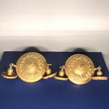 Pair of matching antique yellow brass semi-flush mount two bulb fixtures 63A
