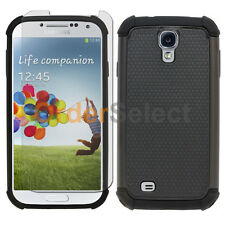 NEW Hybrid Rubber Case+LCD Screen Protector for Samsung Galaxy S4 Black 50+SOLD