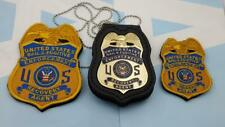 Fugitive Recovery Agent  PATCHES  style badge & leather holder blue US