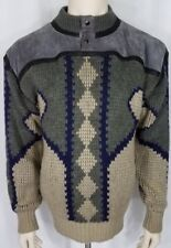Vintage Saxony green gray beige diamond striped leather pullover sweater mens L