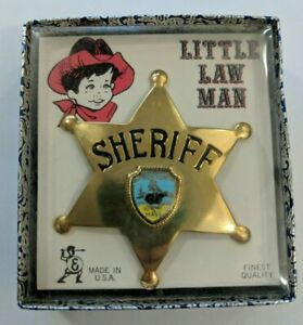 Little Law Man Sheriff Badge Vintage Childs Souvenir Boston MA Made In USA
