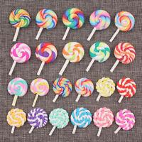 2/50Pcs Colorful Swirl Lollipop Resin Flatback Button Scrapbooking Decoration