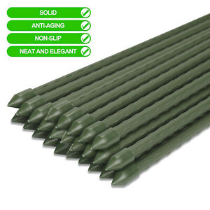 10pcs Green Garden Plant Stakes Coated Steel Support Spikes Veagetable Tomatoes