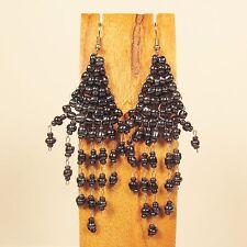 "3"" LONG Handmade Shiny Hematite Chandelier Boho Style Dangle Seed Bead Earring"