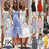 UK Womens Summer Holiday Beach Bardot Button Through Ladies Sun Dress Size 6-20